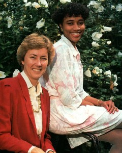 Angie Polk-Jones with former women's basketball coach Lynne Agee