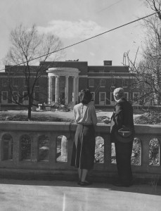A view from the Walker Avenue Bridge of the construction of Jackson Library, 1949