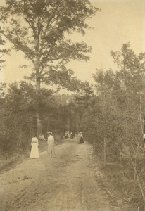 Students walking in Peabody Park during Walking Period