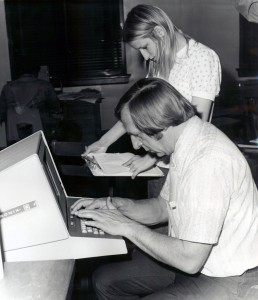 Joseph Denk, founding director of the Academic Computer Center,  with student Donna Newman, 1974-1975