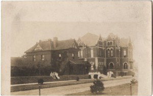 The Infirmary (left) and the Students' Building (right), 1910