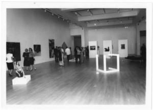Patrons view an exhibit in the Weatherspoon Art Gallery in the Cone Building, 1990