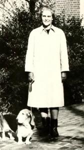 Katherine Taylor with her basset hound Suki